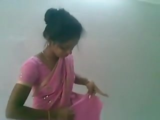 Lovely Indian Desi Lady in Rosy Saree Inhaling and Pounding