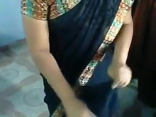 My obese Indian husband puts her sari on in homemade tweak