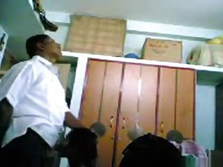 Indian dame blows her bf's salami and lets him havefun with her tits, while he smashes her doggystyle.