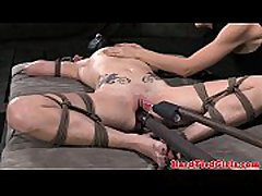 Tied up subs pussy punished with toys