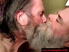 Bearded hairy redneck matures suck dick