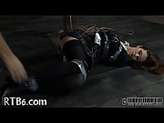Tormenting babe'_s slit with toy