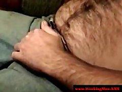 Hairy southern blue collar masturbates