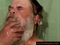 Old mature hairy redneck bears showering