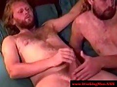 Rough redneck hairy bear mastrubates