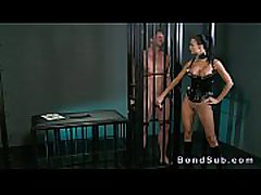 Busty mistress rode dick of her sub on the floor