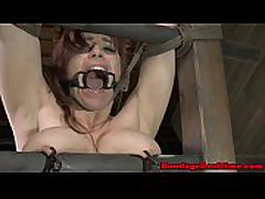 Open mouth gagged sub gets spanked
