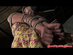 BDSM fetish sub bounded with ropes