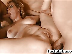 Face fucked Kiki Parker gets double penetrated