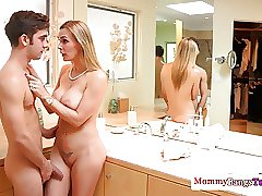 Busty mature teacher watches deepthroat teen