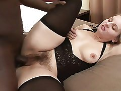 Black dick fucks hairy cunt
