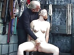 Authoritative boy helps nude woman jack