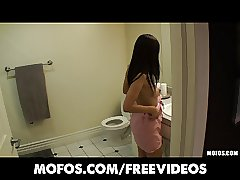 Asian bombshell is caught in the douche and pounded on gauze