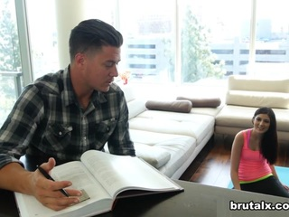 Brad really hates it when his sporty step-sister distracts him from his studies with her fucking yoga. Damn, if this bitch doesn t get it the good way, so be it! Now he s gonna teach her how to be quiet around the house by the means of cock and he doesn t give a damn if she screams of pain when he fucks her deep and rough. Take it, you dirty bitch! You wanted a hard fuck and now you might even get knocked up!