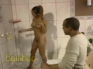 Asian Bamboo Ass Fucked In The Bathroom
