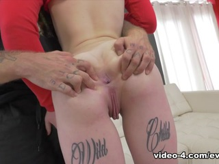 Tattooed Chloe Carter matches with Bryan Gozzling on a dating app. After a flirty chat, the adorable brunette strolls up to his doorstep wearing skin-tight jeans, jelly shoes and pigtail buns in her hair. Dominant Bryan pulls up Chloe's shirt and fingers her cunt, and then gags her while spitting on her face. A brutal mouth fuck gives way to a choking, pussy-plundering dick-down. The submissive slut gets smeared in slobber and slime. She gushes girl squirt all over her own face! After a vicious hook-up, Bryan hoses Chloe's face in semen.