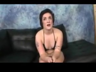 This chubby real life lesbian lets two guys brutally fuck mouth for money.  The interview before the mouth fucking is mean spirited and personal.  She also gets roughed up and spit on.