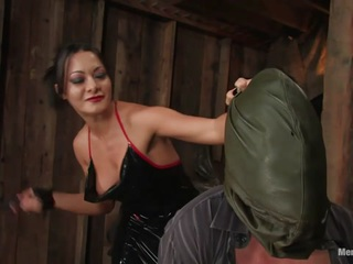 Sandra Romain has a way with words, and when she interrogates this poor boy in her native language, he is loathe to disappoint her. Hooded, gagged and bound, juliann takes brutal punishment from the sadistic mistress including strap on sucking and a mean ass fucking. Finally bound to please, she smothers his hungry face in her ass, pussy and tits till she finally gets off over his bound body and leaves him for the clean up crew.