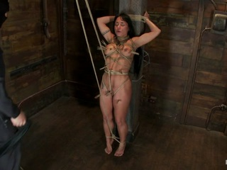 Hot Sexy Hawaiian Is Bound To A Pole, Lifted To Her Tip Toes With A Brutal Crotch Rope. Made To Cum - HogTied