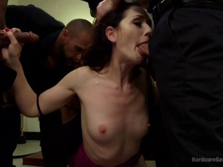 Sarah Shevon is out to correct the cops after they arrest her for recording police brutality on her phone. She demands they protect and serve - starting with her pussy! Much to the officers' surprise, Sarah blackmails them to get her ultimate pleasure - a punishing gangbang!! Sarah demands they pull out their cocks and fuck her throat. She takes their cocks deep into her wet mouth and then tells them to stuff all her holes. She is blindfolded and pinned down, demanding choking orgasms, heavy anal fucking, double penetration, and bukkake! Sarah gets everything she deserves and more when this group of brutal cops fucks her to eye rolling orgasms before shooting five loads all over her pretty face.