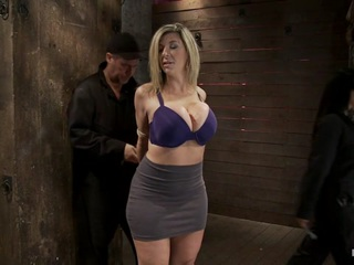 Welcome Sara Jay to hogtied, this sexy MILF has monstrous EE breasts and loves them bound tightly. You have to love a woman with an amazing body that lets people like me do the unthinkable to them.