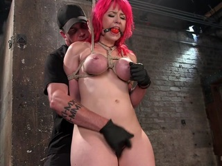 Proxy has an insatiable appetite for sex, but she will have to suffer through intense punishment to get her hungry pussy played with. We begin with her standing and being held up by the tit bondage around her huge natural tits. She suffers enough for her first orgasm, but there will have to be more to ensure she will have another.