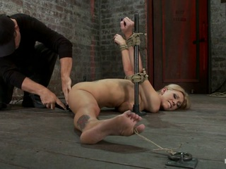 Flexible Blond Milf Is Tied In The Splits.  We Cane, Flog & Make This Mom Cum Like A Whore. - HogTied
