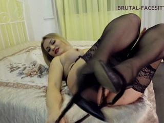 Luisa is having fun with her slave. She wants to get an orgasm so she rapidly sits on his face with her huge ass and making him to work out all her holes with his tongue. Her ass is so big that if she desires, she can easily  her slave. He tries to do his best, but it is not enough to Louise. She rides his face and feels very good; she knows that the slave is suffering without a sip of air.