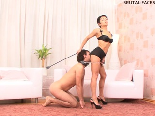 This stallion has got a really big cock and a nice set of heavy balls dangling under it but... His mistress doesn't give a fuck about it cause she only cares about her bottom's oral skills. Why let that thick stinky shaft into her precious holes if she can get them licked clean instead? The guy is not putting enough effort into the process? What an asshole! Gotta make him work by facesitting him!