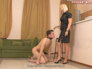 Strict and passionate Amanda can easily turn even the most ill-behaved guy into obedient slave who will do everything his brutal mistress orders. This time Amanda decides to teach another slave a lesson. At first sexy blonde tramples his nude body and then orders the fella to sniff her shoes, but that's not enough for him! Poor slave looks like a dog when serving his exacting mistress.
