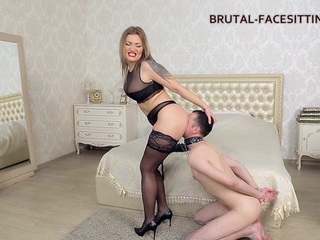 Luisa is engaged with training of her obedient slave. He must to obediently serve his Mistress. If she desires an oral gratification, he must diligently work out with his tongue. Otherwise, Louise will be happy to punish him with her whip. She adjusts him by beating his back with her whip while he licks her pussy. Then she throws him on the bed, puts attach phallus on his face and sits on it with her pussy. She begins to slowly move on it at first and then gets faster and faster. And now she gets an orgasm, and all the moisture from her pussy is now on slave's face. For such effort she does handjob to this little asshole...