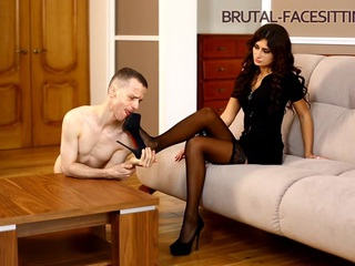 The slave must in every possible way want to please his Mistress. He should be ready to do it on first order. Licking Mistress's pussy and legs is a main goal in his life. Hot Mistress Sophia Deville teaches her stupid slave. And she is doing pretty good!
