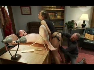 Hot tramp tied her hubby thus making him her slave. She fucked his ass with a strapon before fucking another guy right in front of him.