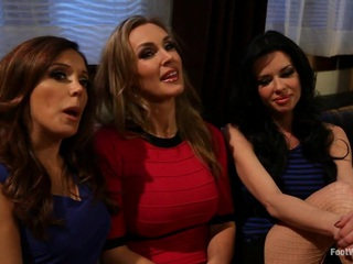 Who doesn't like the classic scenario from porn's golden era of three hot women seducing the pizza boy? However, this kinky story has a twist, everyone is foot obsessed! Three legendary MILFs, Francesca Le, Tanya Tate and Veronica Avluv enjoy a girls evening complete with martinis and worshiping each others feet, stockings, pantyhose and stilettos but when the pizza boy arrives these horny, ruthless MILFs completely destroy him with there feet. Logan doesn't stand a chance and worships, licks, sucks, smells, massages all their delicious toes, arches and scrunched soles. They suck cock with their feet, they make him lick their asses and pussies and use his cock all for their pleasure while we get the perfect shots of their feet and toes scrunching and contorting with every orgasm. Last but not least the pizza boy gets his tip, a six foot foot job and blows his load all over their beautiful feet and toes!