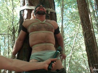 You've seen him as a brutal top on Bound Gods , renowned for the size of his huge cock. Now Josh West is here on Men on Edge to be bound, flogged, and dildo fucked. Josh is tied to a tree and the anticipation gets his cock hard right away. We tease him with the vibrator and put nipple clamps on him while he's manhandled. We tie him again near a forked tree and flog him hard and fuck his ass. Another edging makes Josh beg to cum, his cries echoing through the forest as his huge cock throbs. Fully suspended he can take no more and finally blows his load but his massive cock still must endure the post-orgasm torment.