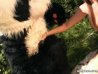 Dark Brown fuck in the woods toy panda