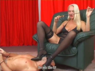 Housewifes go crazy about domination. This lovely mature blonde has unexpectedly discovered herself being very bad by nature. She turns into a cruel dominatrix and ***s her elder husband to serve her, humiliates him furiously and waters his mouth with her urine for the first time right in front of you. No doubt about this one is gonna turn another significant dom goddess.