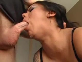 A horny girl gets brutal facefuck