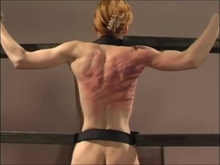 130 lashes on the back. No blood. Extreme whip marks.