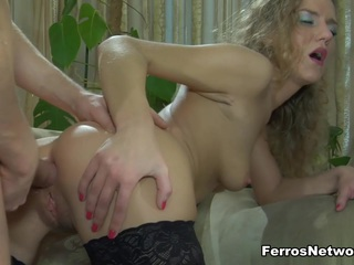 Barbara and Rolf are on the sofa about to do some hardcore anal sex and he just loves diving into that tight little ass of hers. The nasty sexy slut gives him a blowjob to get that hard meaty cock all slimey and then he stuffs it deep into her for some dirty hard buttfucking that makes her squeal.  The brutal butt banging is awesome and he satisfies her with some sticky white cum.