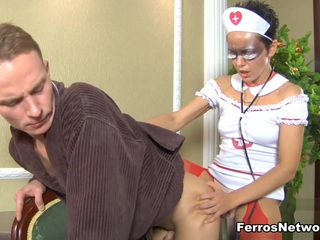 Nurse filthy sexy whore Viola is over to check out Randolph's nasty tight ass and the horny sniveling punk knows he's in for more than he bargained for.  She knows he needs some savage asshole drilling to treat him right and breaks out her big thick strapon to take his temperature.  Well she's not actually taking his temperature she's actually brutal hardcore screwing his snug little butt in a wild session of massive fat strap-on nasty anal sex.
