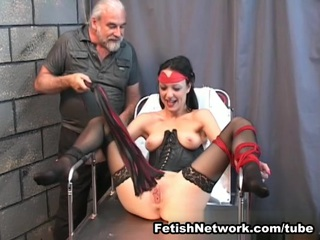 This is your lucky day since you are going to see stunning brunette Mia in extreme punishments action. She is tied up and there is nothing she can do at all and her master is ready to try his new toys. If you ask him, he is going to tell you that there is nothing better than tormenting a girl with electric power and that is why he is going to attach the metal devices to her pussy lips. That hurts big time, and that is why Mia is screaming so loudly. Black stockings are making her look even more attractive and not to mention a tight black leather top which is not even covering her firm natural boobies and hard sensitive nipples. That is what her master loves the most about her but he is going to focus on making her cum hard. When he told her to spread her legs she got scared, since she knew that she is going to feel severe pain like never before. That made her reach an intense orgasm and her long legs started shaking like never before. Mia became one of his slaves.
