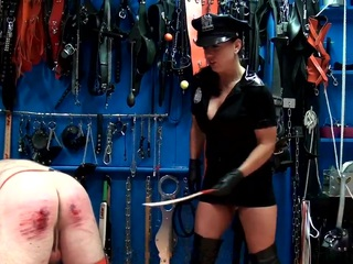 Severe judicial from the punishment officer: slave is getting brutally whipped and caned