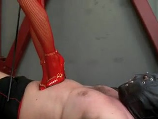 Godess trampling poor slave,while other is watching it.