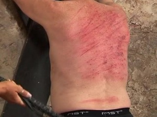 Slave gets severely whipped by two cruel mistresses Rebecca and Gitta