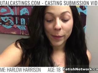 Harlow Harrison, one cool sexy chick, just wants to quit her job for high paid modeling gigs! She sent her audition tape to the best talent agency, college Castings, and gets a reply. She'll do anything to get what she wants. Her potential agent wants to take a few photos of her in her underwear. When he tries to get her naked, explaining it will bring more work for her, she grabs her clothes. So he makes it clear: If she doesn't do what he says, the door is feet away. Now, to even be considered, she must endure his love for BDSM, domination, rope bondage, deepthroat bj, fingering, squirting, spanking, slapping and rough sex. She leaves with a cum shot on her face. Fame and fortune might come later.