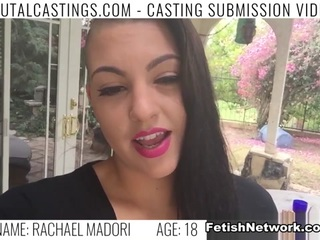Rachael Madori, an edgy hot New Yorker, is ready to become a supermodel and become famous! She sent her audition video to the best talent agency, college Castings, and is called for an interview. She'll do anything to get what she wants. The agent she's hooked up with wants to take a few photos of her in her underwear. When he tries to get her naked, promising it will help her become a star, she grabs her clothes. So he makes it clear: If she doesn't do what he says, she won't be working for him. Now, to even be considered, she must endure his love for BDSM, domination, rope bondage, deepthroat bj, fingering, squirting, spanking, slapping and rough sex. Her new Master leaves a load of cum on her face but doesn't mention she'll be famous any time soon.