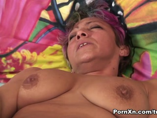 If you hanker for some MILFs fucking, then get ready for a GILF! This hot older women gets a huge dildo and gives herself a brutal dildo fuck. A super-stud joins her on the bed and takes over with the big dildo in her pussy. Leaving it embedded in her cunt, he shoves his cock in her mouth for a super-suck. Pulling the vibe out of her mega pussy, he replaces it with his dick, pushing and shoving it in balls deep and making her moan like a whore. Riding her doggy, he drills her swollen pussy and this mature slut video gets hotter by the minute. If you like your MILFs, then youВ'll bust a nut for this mature pussy pumping flick!