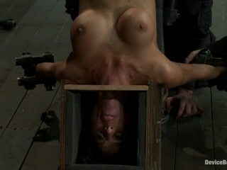 Hot skinny milf with big tits  is bound in a custom metal device. Brutally fucked  and zippered.