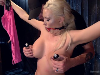 Summer Brielle makes her first appearance on Device Bondage and it will be one to remember. This is the first hardcore bondage shoot that doesn't have sex to distract this whore from the true pain and suffering. Her clothes are ripped from her body  exposing her massive tits and super hot body. Her mouth slowly drips from the gag  covering her body in drool. There is something about seeing a whore of her level being tormented and abused that just warms our heart. You can tell she is the type of whore that has men and women melting in her presence. She is used to being treated like a goddess  never wanting for anything  but not here  not from The Pope. Her day is filled with hardcore bondage  brutal torment  and a sybian ride that brings this whore to tears. All she has to do is not cum for three minutes on the sybian. She fights  she screams  she begs  but you'll have to watch to see if Summer can survive that long with it turned all the way up.